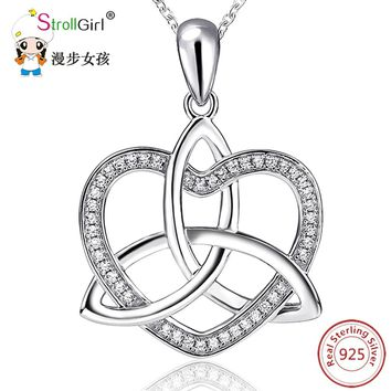 925 Sterling Silver Love Heart Cubic Zirconia girls  Silver Pendants & Necklaces  Chain jewelry Celtic Knot Necklace women 2018