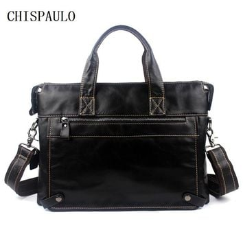 CHISPAULO Real Genuine leather men bag Briefcase Laptop tote shoulder laptop men's travel bag man bags men's messenger bag T665