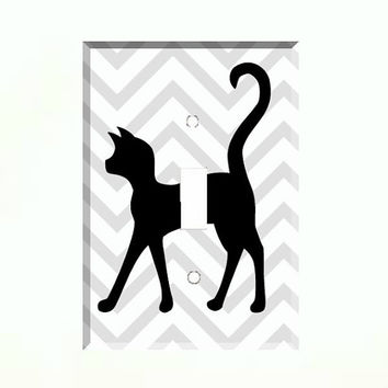 Light Switch Cover - Light Switch Plate Black Cat Silhouette Gray Chevron