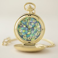 Art Deco Pattern - Aqua with Pearl Circles Pocket Watch