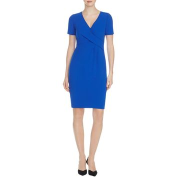 Elie Tahari Womens Deandra Crepe Surplice Wear to Work Dress