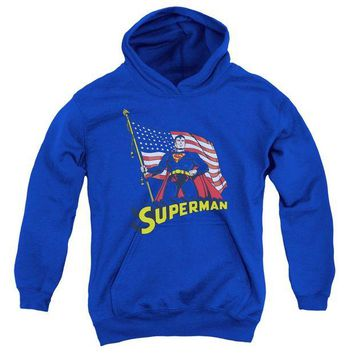 ac spbest Superman - American Flag Youth Pull Over Hoodie
