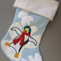 Penguin Snow Angels Christmas Stocking