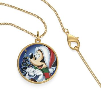 Christmas Mickey Mouse With Santa Cap Hat On A Silver Of Gold Plated Single Loop Necklace