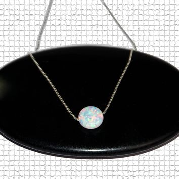Fire Opal Necklace, Opal Coin Necklace, Delicate Opal Necklace, Sterling Silver Opal Necklace, Birthstone Necklace, Bridesmaid Necklace
