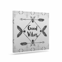 "Famenxt ""Boho Good Vibes"" Black Gray Canvas Art"