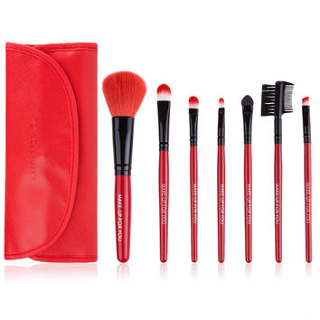 7 Pcs Portable Wooden Handle Makeup Brush Set Cosmetic Kit with Pouch Bag