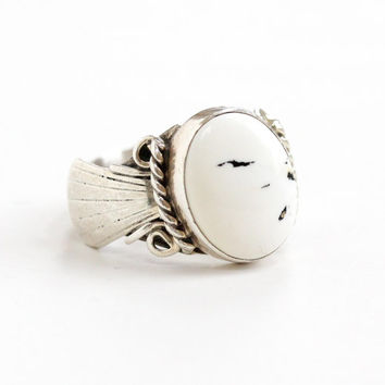 Vintage Sterling Silver White Buffalo Turquoise Ring - Size 8 1/2 White & Black Gem Native American Zuni Jewelry Hallmarked T.Benally