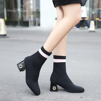 Patchwork Round Toe Pure Color Chunky Heel Short Boots