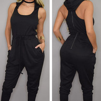 Black Sleeveless Drawstring Waist Hooded Jumpsuit