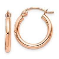 14K Rose Gold Lightweight Click-down Hoop Earrings, .60 Inches (15mm) (2mm)