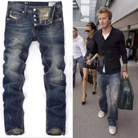 Denim Pants Men White Slim Jeans [264169750557]
