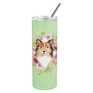 Sheltie Green Flowers Double Walled Stainless Steel 20 oz Skinny Tumbler CK4373TBL20