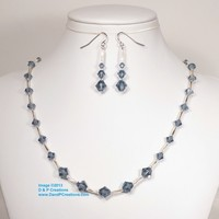 Swarovski Blue Denim Bicone Miyuki Twisted Bugle Beads Necklace Earrings