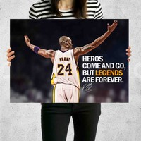 Poster Print Kobe Bryant Motivational Quotes Wall Decor Canvas Print - halawatani.com