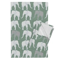Orpington Tea Towels featuring elephants_light_green by holli_zollinger