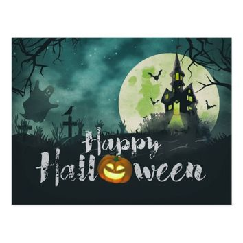 Spooky Haunted House Costume Night Sky Halloween Postcard
