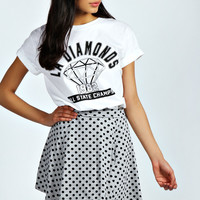 Evie Grey Marl Polka Dot Skater Skirt