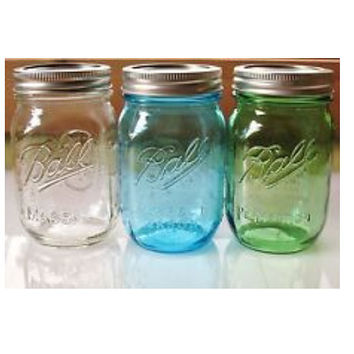 Ball Mason Jar Piggy Bank with Coin Slot Lid – 16 oz – 4 Colors Available