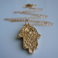Gold Hamsa Necklace by 443Jewelry on Etsy