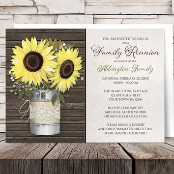 Sunflower Family Reunion Invitations - Burlap and Lace Tin Can and Yellow Floral theme with Country Wood and Beige - Printed Invitations