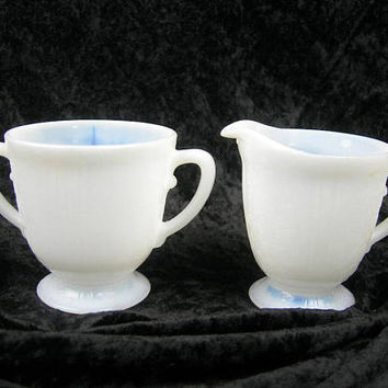 "Depression Milk Glass Cream and Sugar Set, Vintage Kitchen 1930s, MacBeth Evans ""American Sweetheart"" Monax White, Wedding, Tea Party, Gift"