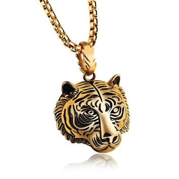 Lion Head Pendant Necklace Jewelry Stainless Steel
