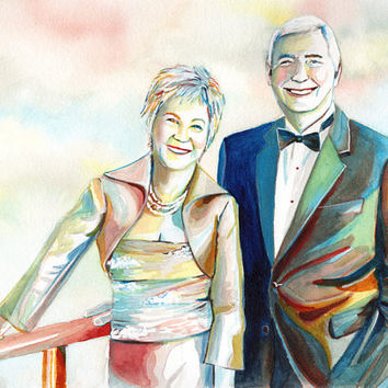 Gift for 50th / 25th WEDDING ANNIVERSARY PARTY - Painted portrait from photo