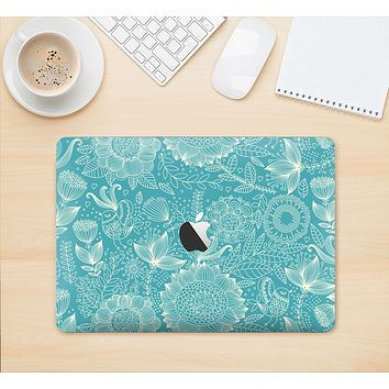 "The Intricate Teal Floral Pattern Skin Kit for the 12"" Apple MacBook"
