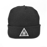 HUF x OBEY Beanie Hat (Black) Men's Traingle Patch Cuffed Loose Knit Cap