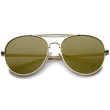 Bold Metal Full Metal Side Cover Frame Crossbar Mirrored Flat Lens Aviator Sunglasses