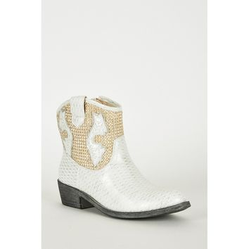 White Frosted Look Faux Leather Cowboy Boots