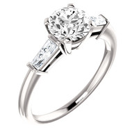 1.91 carat Round & baguette diamonds 3-stone ring white gold 14K