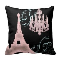 pink Chandelier vintage paris decor Pillow