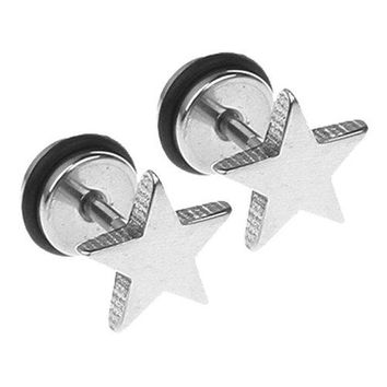 BodyJ4You Fake Plugs Star Fake Gauge 316L Stainless Steel 16G Studs Earrings Illusion Jewelry