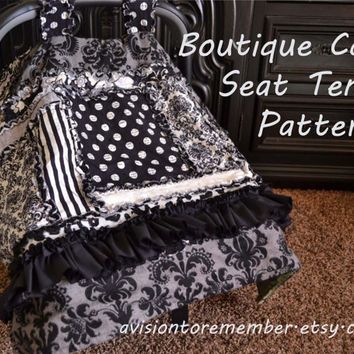 Boutique Car Seat Tent Sewing Pattern, Rag Quilt, Baby Blanket, Ruffled, Mailed Hard Copy