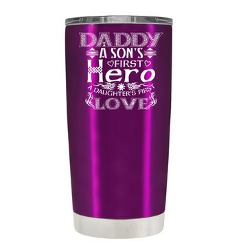 Daddy A Sons First Hero on Raspberry 20oz Father's Day Tumbler Cup