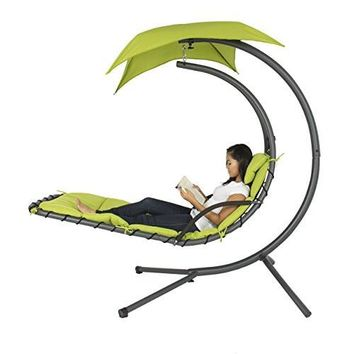 Best Choice Products Hanging Chaise Lounger Chair Arc Stand Air Porch Swing Hammock Chair Canopy Gr