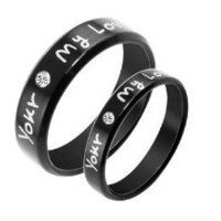 "Stainless Steel Cz Gem ""You're My Love"" Engraved Couple Rings Set for Engagement, Promise, Eternity R002 (His Size 7,8,9,10; Her Size 5,6,7,8). Please Email Sizes"