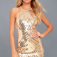 Ace of Spades Gold Sequin Bodycon Dress