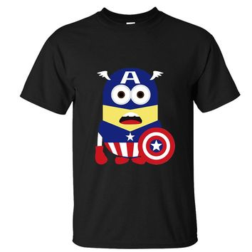 CRAZY POMELO Geek Minion Captain America Short-sleeved Men's T-shirt