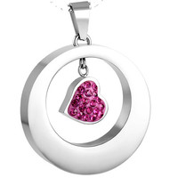 """Cremation """"Pink Circle Heart"""" Urn Necklace"""