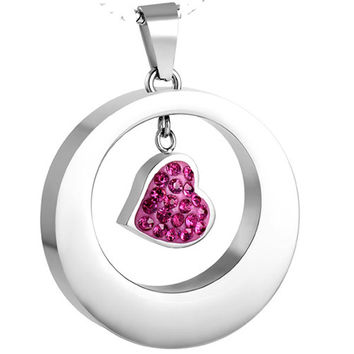 "Cremation ""Pink Circle Heart"" Urn Necklace"