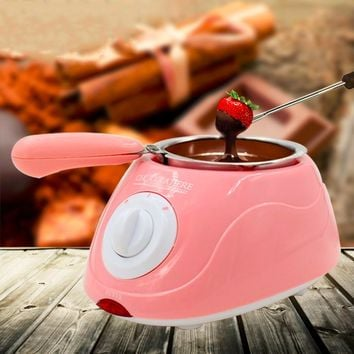 2017 New Arrival Durable Stainless steel&Plastic Hot Chocolate Melting Pot Electric Fondue Melter Machine Set DIY Tool EU plug