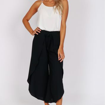Wrap Gaucho Pants Black