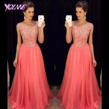 2017 Peach Long Prom Dresses Boat Neck Tulle Crystals Beaded Pleats Party Dress Custom Made