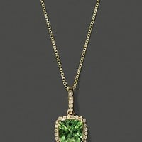 Diamond And Peridot Pendant In 14K Yellow Gold, 18"