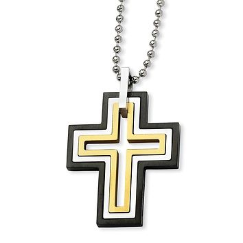 Stainless Steel Black and Gold Plated Moveable Cross Necklace