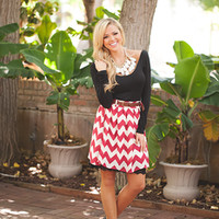 Bottoms Up Belted Chevron Dress Red