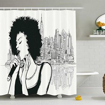 Afro Decor Shower Curtain American Jazz Music Girl Performing in front of New York Manhattan Illustration, Fabric Bathroom Decor
